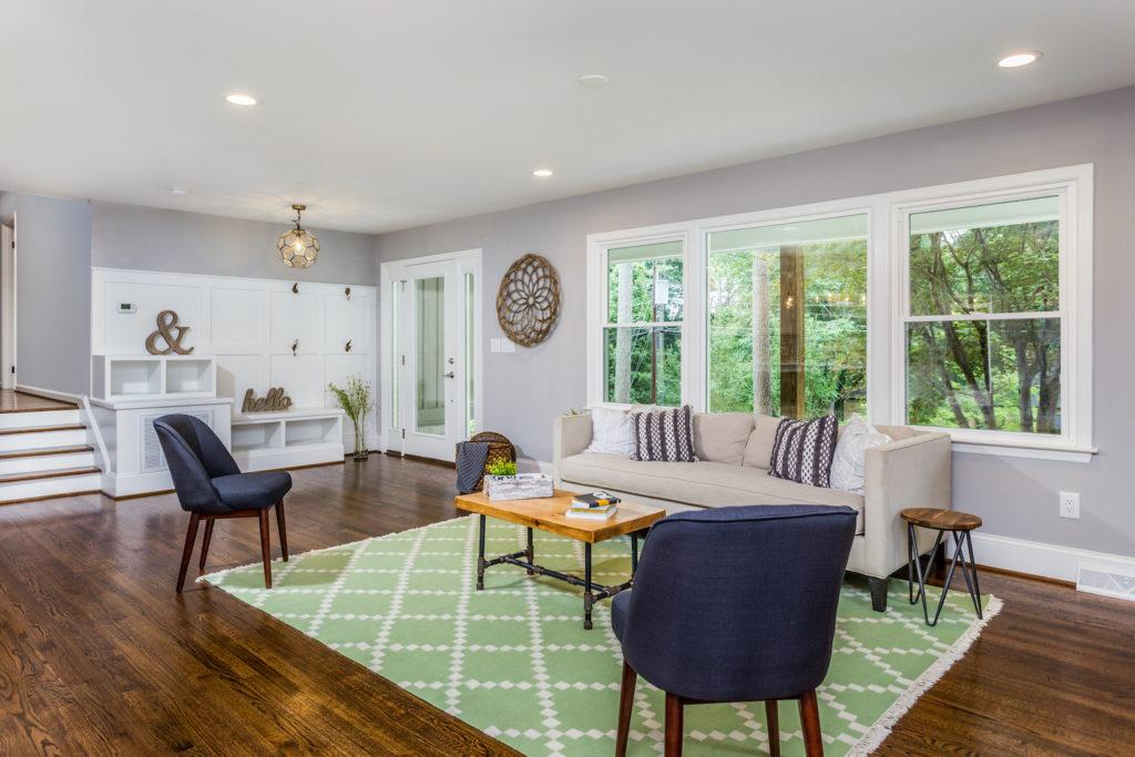 modern split living room open layout