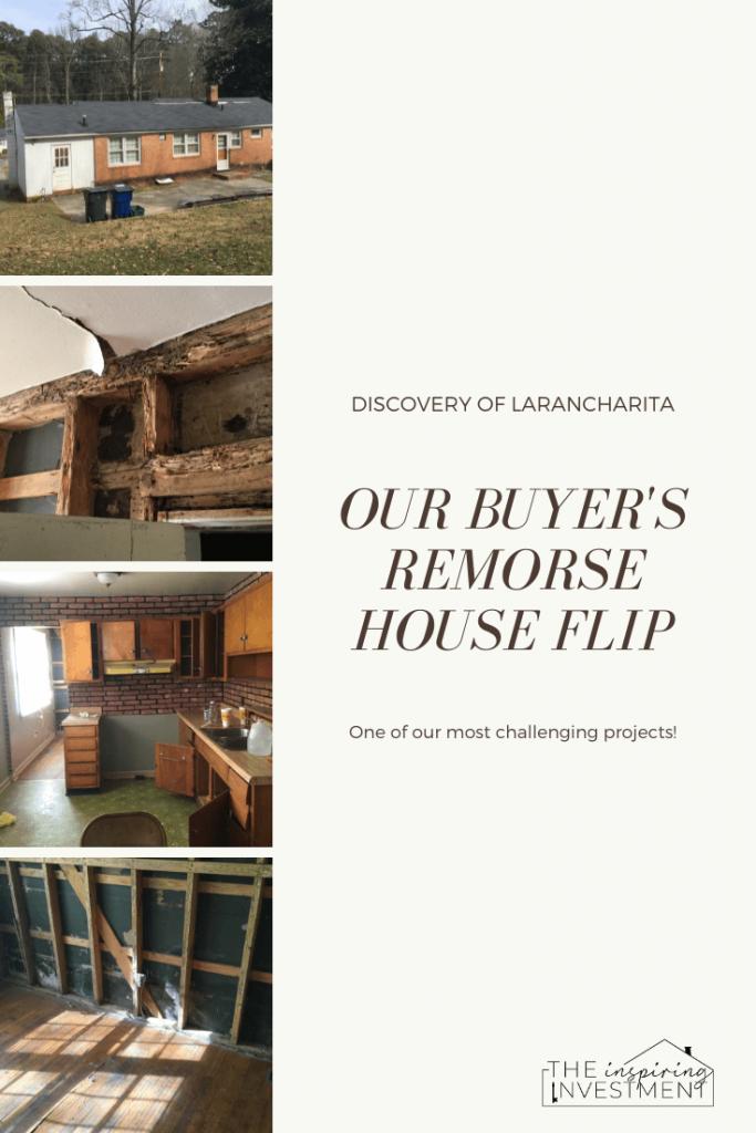 larancharita: our buyers remorse house flip | House Flip by popular US house flip blog, The Inspiring Investment: Pinterest image of a house flip.
