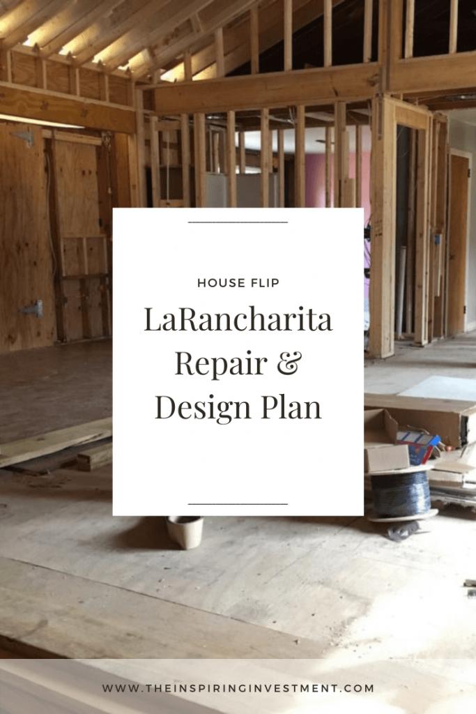 LaRancharita House Repair Plan   The Inspiring Investment House Flip   House Flip by popular US house flipping blog, The Inspiring Investment: Pinterest image of a house flip.