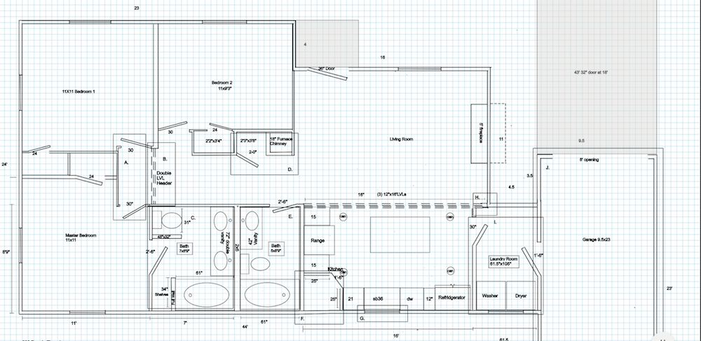 house plans for the new layout at the dennis the menace flip in raleigh with an open kitchen and living and also an additional bathroom