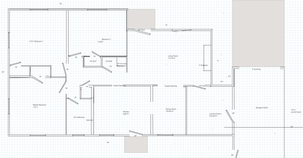 house plans for the old layout at the dennis the menace flip in raleigh with a closed off kitchen and living room and only one bathroom