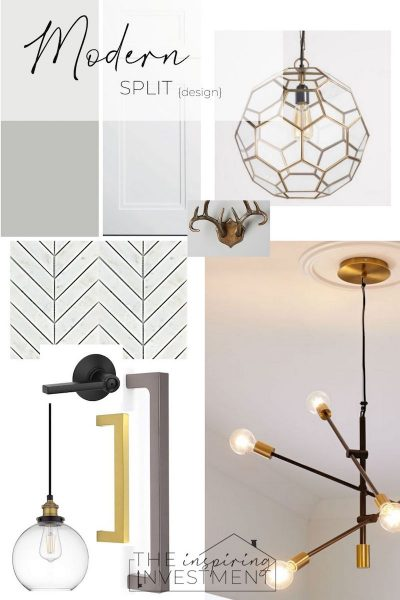 selection mood board for the modern split flip light french grey paint, animal hooks on the entry dropzone mixed metal hardware and light fixtures antique brass and gunmetal cabinet pulls white and grey shaker cabinets