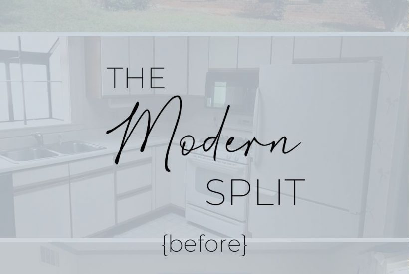 a pinterest graphic that shows before pictures of the modern split
