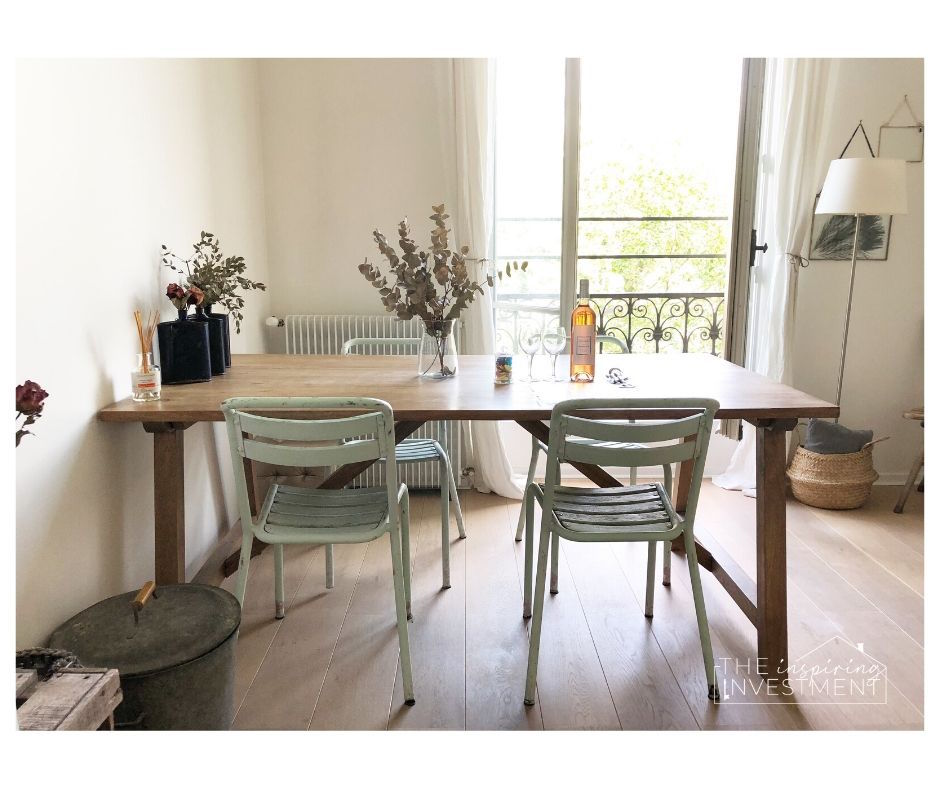 this is the dining room of an Airbnb we stayed at in paris. this airbnb is where we are taking alot of inspiration from for our master bedroom makeover with the one room challenge