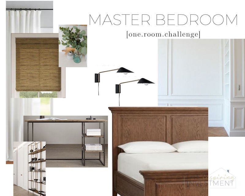 one room challenge master bedroom mood board for the design post of the ORC