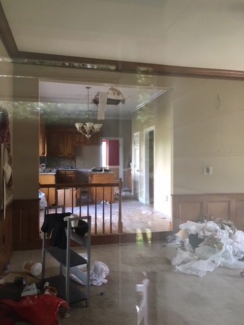 a raleigh flip house purchased we purchased at auction, this image is peering though the window looking into a messy living room. the house is in disrepair with a hole in the ceiling and trash everywhere