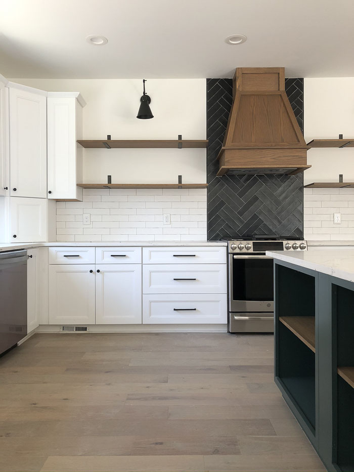 floating shelves to save on cabinetry