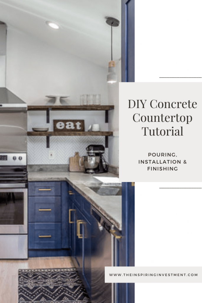 diy concrete countertop tutorial | DIY Concrete Countertops by popular US DIY blog, The Inspiring Investment: Pinterest image of a kitchen with concrete countertops and blue cabinets.