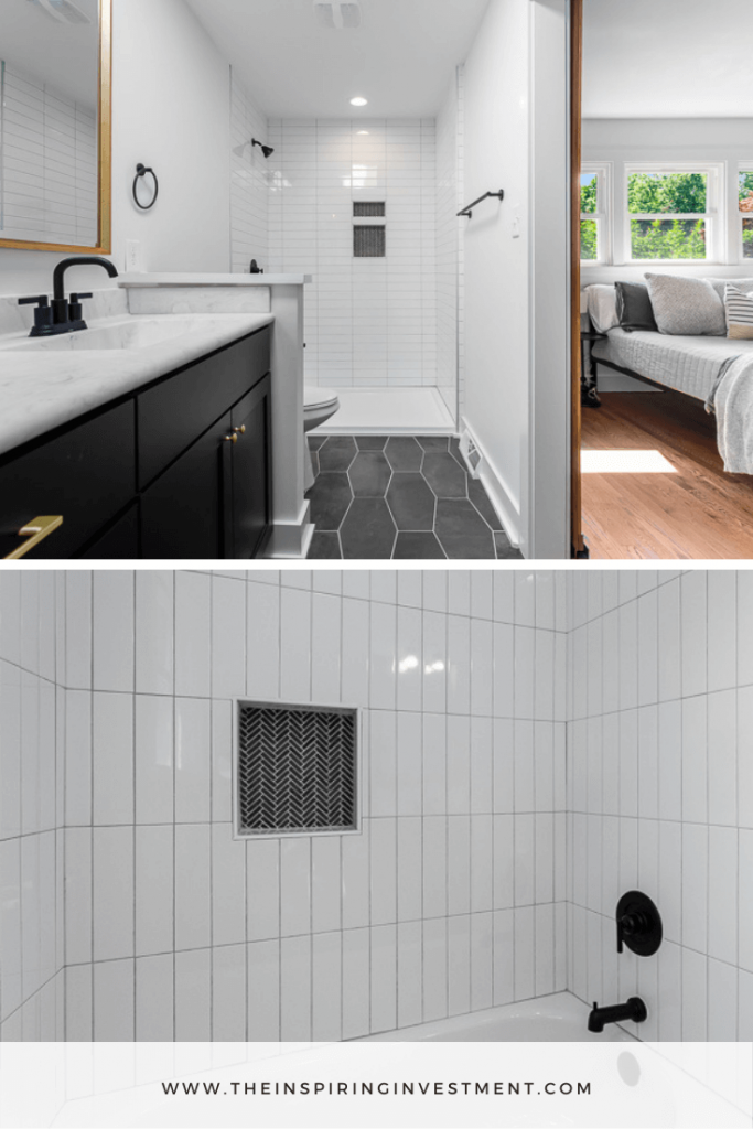 mid-century modern bathroom   Mid Century Modern Flip by popular US house flipping blog, The Inspiring Investment: collage image of a mid century bathroom with black tile flooring, black vanity with white marble counter top, and walk in shower with white subway tile.
