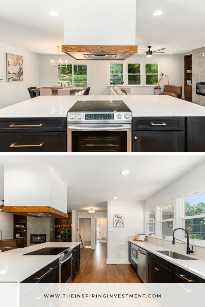 mid-century modern kitchen   Mid Century Modern Flip by popular US house flipping blog, The Inspiring Investment: image of a a mid century modern kitchen with hood range, black cabinets with gold handles, white marble counter tops, black faucet, and wooden flooring.