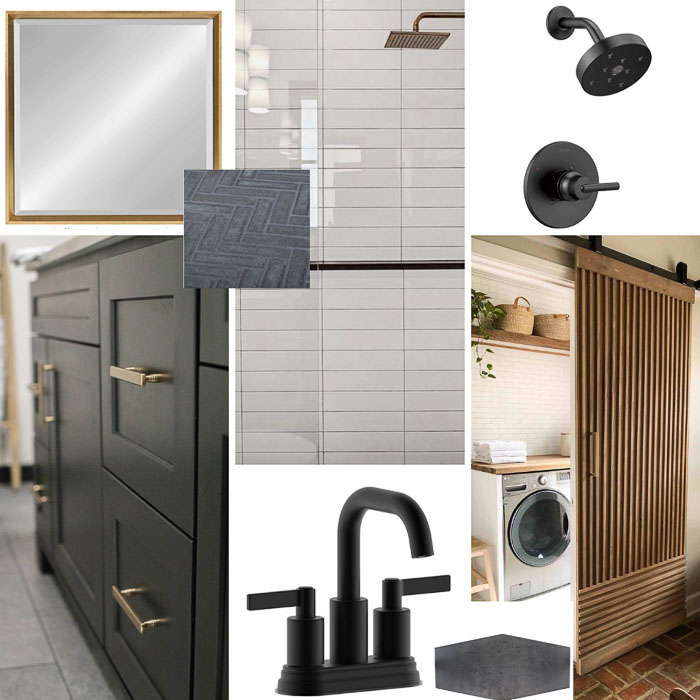 mood board for mid-century modern house flip   Mid Century Modern Flip by popular US house flipping blog, The Inspiring Investment: collage image of a matte black faucet, matte black cabinets with matte gold handles, white subway tile, wooden sliding door, square mirror, and Matt black shower head.